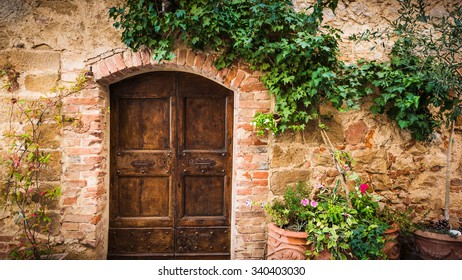 Old retro door in the Italian towns