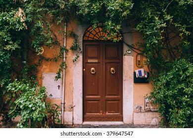 Old retro door in the rome, trastevere