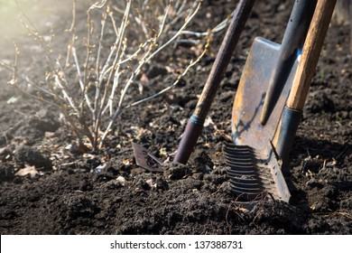 Old retro garden tools (cultivator, shovel, rake) over brown soil (ploughed land) close up.  Agriculture, gardening, soil cultivation, village life concept.