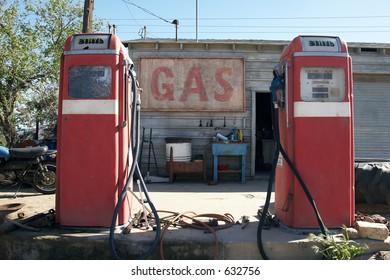 1f2079edb8874d Old retro gas pumps in the rural landscape