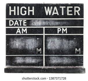 An old retro high water blackboard chart left blank.