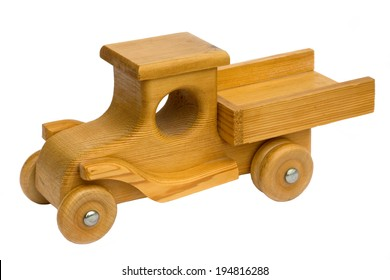Old retro homemade wooden toy truck