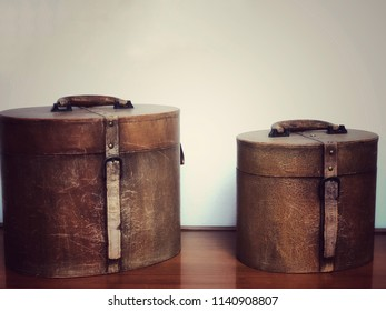 Old retro leather boxes