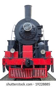 Old (retro) steam engine (locomotive) on isolated background.