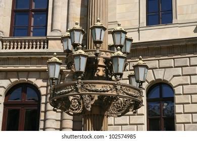 Old retro street lights. Vintage street lamps. Street light.