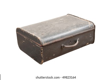 old retro suitcase over white background with clipping path