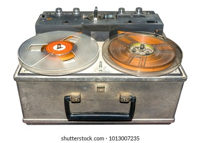 Old retro tape player on isolated white background with clipping path.