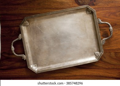 old retro tray on table