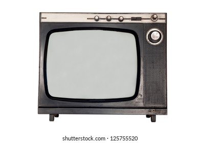 Old retro TV with blank screen. Isolated object at white background