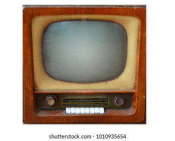 old retro tv isolated on white