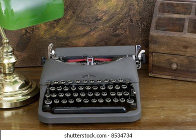 Old retro typewriter with Hebrew lettering