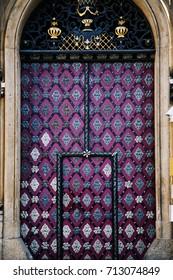Old retro vintage big metal door with decoration