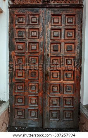 Old Retro Vintage Exterior Door Old Stock Photo Edit Now 587257994