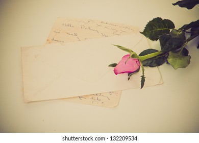 old retro vintage love letter with rose.