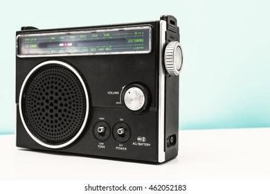 Old retro vintage radio set player