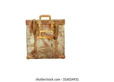 An old retro-styled suitcase from red leather isolated on white background