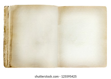 old revealed notebook isolated on white background
