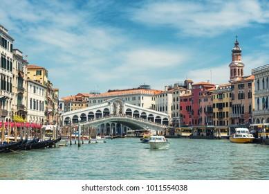 The old Rialto Bridge over the Grand Canal in Venice, Italy. Rialto Bridge (Ponte di Rialto) is one of the main travel attractions of Venice. Historical architecture and landscape of Venice.
