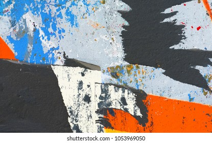 Old ripped torn posters creased crumpled grunge texture background backdrop peeling paint surface abstract
