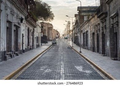 Old Road and Town in the Arequipa city, Peru