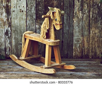 Old rocking horse on a rustic country backdrop. This image is now available in my portfolio, isolated on white.