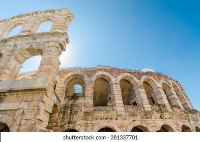 old roman arena, ancient roman ampitheater in Verona, Italy