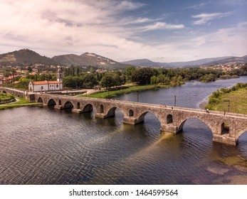 Old Roman bridge over the Lima river