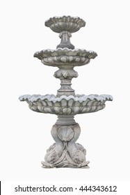 Old Roman Fountain isolated on white background. Clipping path.