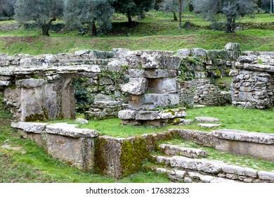 Old roman ruins in Fiesole in Italy
