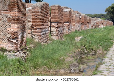 Old roman ruins in Ostia Antica near Roma