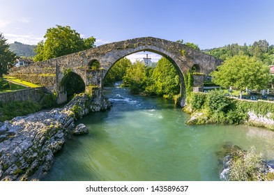Old Roman stone bridge in Cangas de Onis, Spain