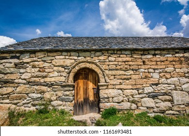 Old Romanesque wooden door of the Sant Quirc de Taull , Catalonia, Spain. Catalan Romanesque Churches of the Vall de Boi are declared a UNESCO World Heritage Site Ref 988
