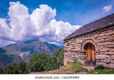 Old Romanesque wooden door of the Sant Quirc de Taull , Catalonia, Spain. Catalan Romanesque Churches of the Vall de Boi are declared a UNESCO World Heritage Site Ref 988