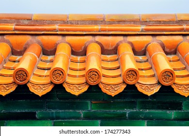 Old roof of Chinese buildings with beautiful pattern in Beijing.