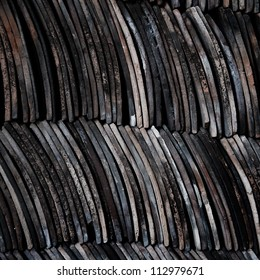 old roof tiles in piles.