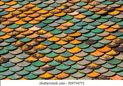 Old Roof tiles of Thai temple