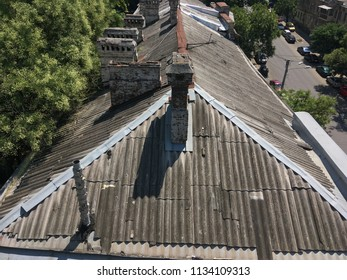 old roofs of houses with trumpet stove in the city of Odessa. Ukraine, Odessa, July 2018