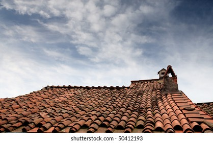 Old rooftop with chimney