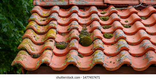 old rooftop restoration, red brick stones on house top
