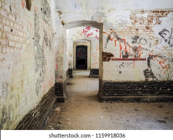 Old rooms with graffiti in Fortress of Duffel near Mechelen, Belgium