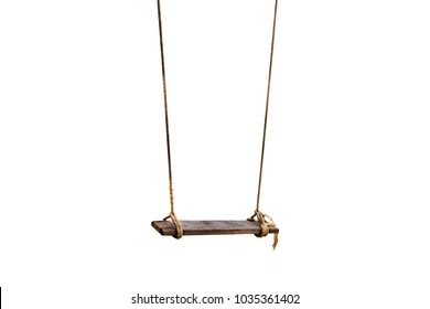 The old rope wooden swing. Isolated background