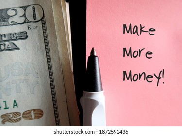 Old rose pink note, a pen and cash dollars money with text written MAKE MORE MONEY , concept of decision to find more income by doing extra job or side hustles - Shutterstock ID 1872591436