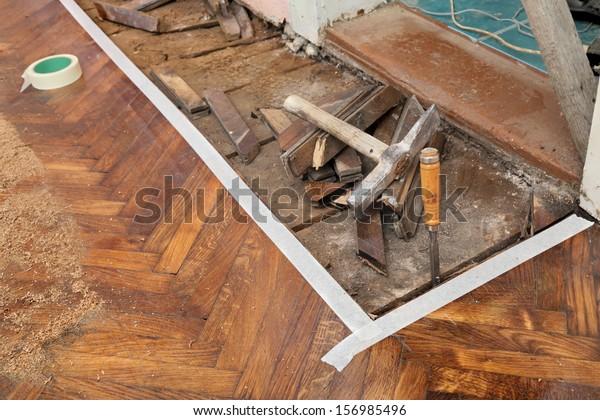 Old Rotten Parquet Floor Remove Chisel Stock Photo Edit Now