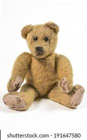 Old rotten straw Teddy bear Nostalgic and lonesome Teddy bear