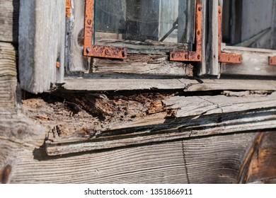 old rotten wooden window sill