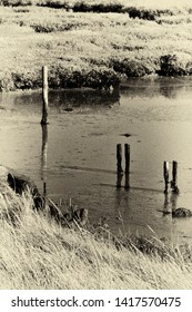 Old rotting posts in the water by the footpath along the Ore Estuary, Orford, Suffolk, UK. Grainy antique vintage sepia effect.