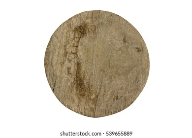 Old round chopping board isolated on white background