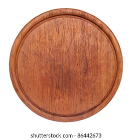 Old round cutting board isolated on white.