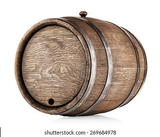 Old round oak barrel isolated on white background