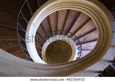 Old Round Wood Stairway With Handrails, Top View